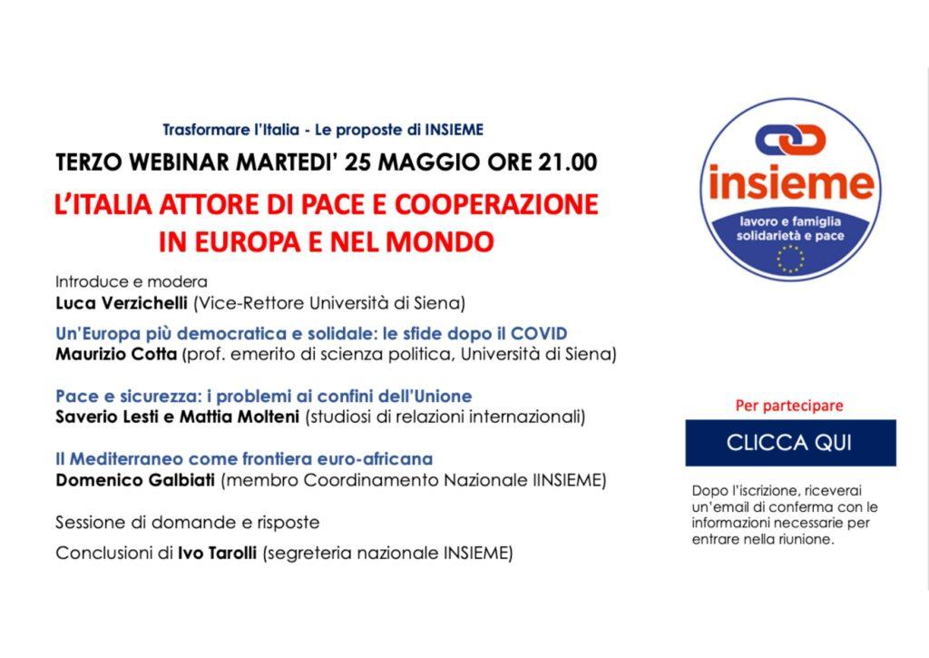 invito 25 maggio 2021 Italia attore di pace e cooperazione